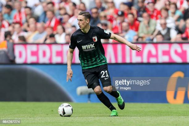 Dominik Kohr of Augsburg controls the ball during the Bundesliga match between Bayern Muenchen and FC Augsburg at Allianz Arena on April 1 2017 in...