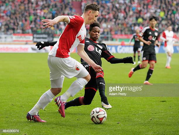 Dominik Kohr of Augsburg in action during the Bundesliga match between FC Augsburg and Bayer 04 Leverkusen at SGL Arena on February 21 2015 in...