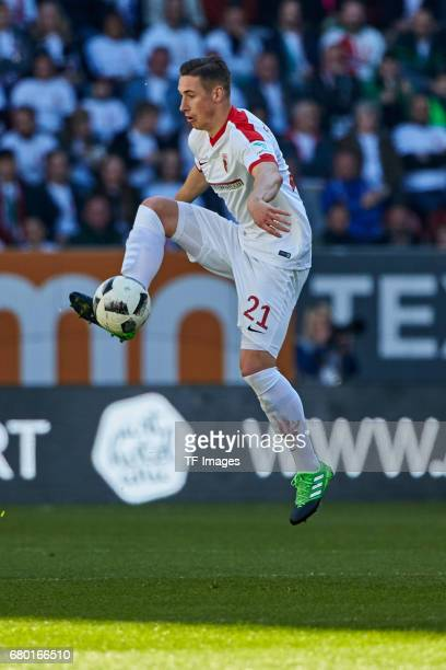 Dominik Kohr of Augsburg in action during the Bundesliga match between FC Augsburg and Hamburger SV at WWK Arena on April 30 2017 in Augsburg Germany