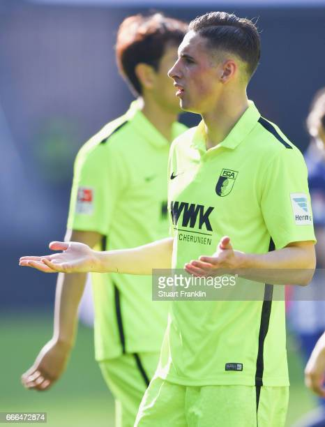 Dominik Kohr of Augsburg reacts during the Bundesliga match between Hertha BSC and FC Augsburg at Olympiastadion on April 9 2017 in Berlin Germany