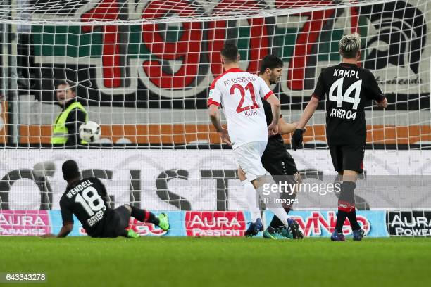 Dominik Kohr of Augsburg scores a goal during the Bundesliga match between FC Augsburg and Bayer 04 Leverkusen at WWK Arena on February 17 2017 in...