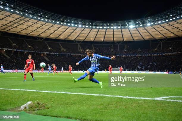 Dominik Kohr of Bayer 04 Leverkusen and Marvin Plattenhardt of Hertha BSC during the game between Hertha BSC and Bayer 04 Leverkusen on september 20...