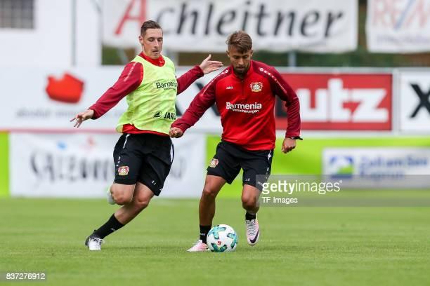 Dominik Kohr of Bayer 04 Leverkusen and Vladlen Yurchenko of Bayer 04 Leverkusen battle for the ball during the Training Camp of Bayer 04 Leverkusen...