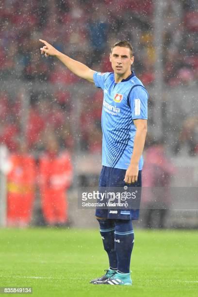 Dominik Kohr of Bayer Leverkusen gestures during the Bundesliga match between FC Bayern Muenchen and Bayer 04 Leverkusen at Allianz Arena on August...