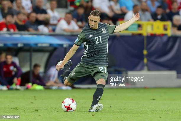 Dominik Kohr of Germany in action during the UEFA European Under21 Championship Semi Final match between England and Germany at Tychy Stadium on June...