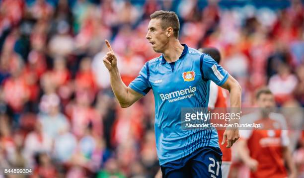 Dominik Kohr of Leverkusen celebrates the first goal for his team during the Bundesliga match between 1 FSV Mainz 05 and Bayer 04 Leverkusen at Opel...
