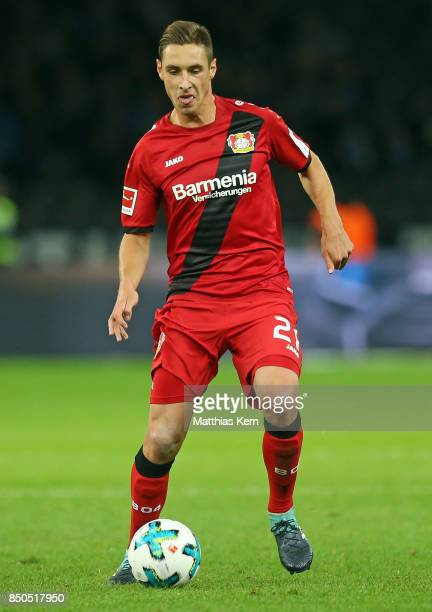 Dominik Kohr of Leverkusen runs with the ball during the Bundesliga match between Hertha BSC and Bayer 04 Leverkusen at Olympiastadion on September...