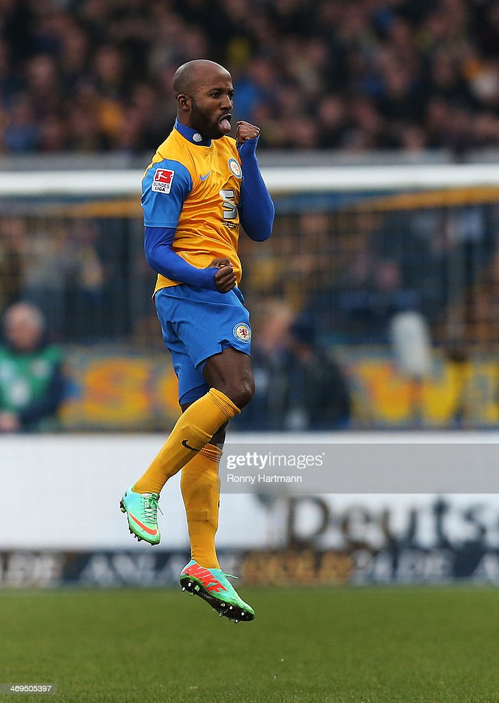 Dominik Kumbela of Braunschweig celebrates his teams second goal during the Bundesliga match between Eintracht Braunschweig and Hamburger SV at Eintracht Stadion on February 15, 2014 in Braunschweig, Germany.
