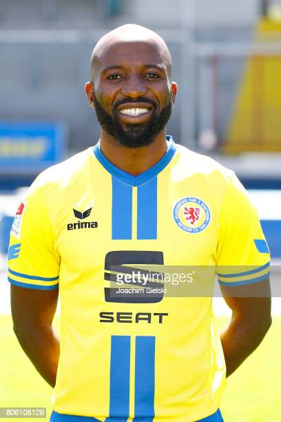 Dominik Kumbela of Eintracht Braunschweig poses during the official team presentation of Eintracht Braunschweig at Eintracht Stadion on July 3 2017...