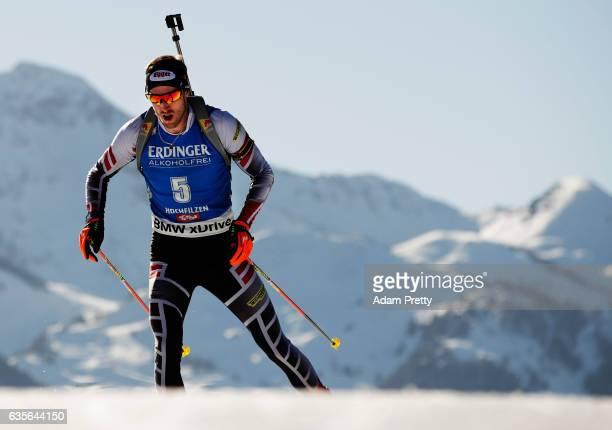 Dominik Landertinger of Austria in action during the Men's 20km Individual competition of the IBU World Championships Biathlon 2017 at the Biathlon...