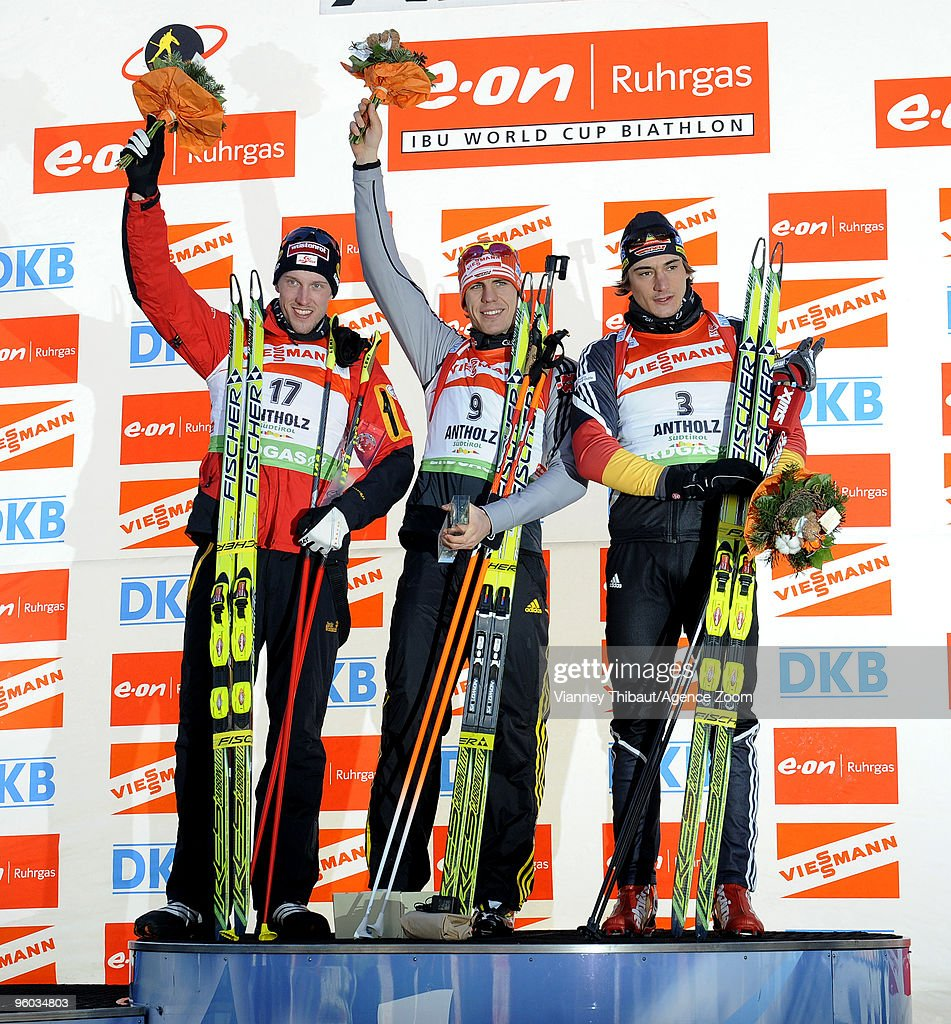 <a gi-track='captionPersonalityLinkClicked' href=/galleries/search?phrase=Dominik+Landertinger&family=editorial&specificpeople=4698843 ng-click='$event.stopPropagation()'>Dominik Landertinger</a> of Austria takes 2nd place, <a gi-track='captionPersonalityLinkClicked' href=/galleries/search?phrase=Arnd+Peiffer&family=editorial&specificpeople=5658801 ng-click='$event.stopPropagation()'>Arnd Peiffer</a> of Germany takes 1st place, <a gi-track='captionPersonalityLinkClicked' href=/galleries/search?phrase=Christoph+Stephan&family=editorial&specificpeople=4596090 ng-click='$event.stopPropagation()'>Christoph Stephan</a> of Germany takes 3rd place during the e.on Ruhrgas IBU Biathlon World Cup Men's 10 km Sprint on January 23, 2010 in Antholz Anterselva, Italy.