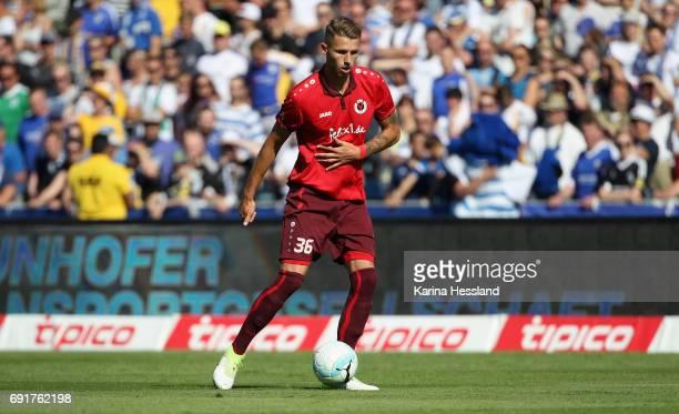 Dominik Lanius of Koeln during the Third League Playoff Leg Two between FC Carl Zeiss Jena and Viktoria Koeln on June 01 2017 at ErnstAbbeSportfeld...