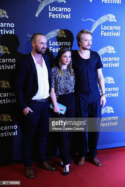 Dominik Locher Sven Schelker and Jasna Fritzi Bauer attend 'Goliath' screening during the 70th Locarno Film Festival on August 6 2017 in Locarno...