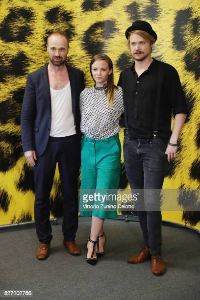 Dominik Locher Sven Schelker and Jasna Fritzi Bauer attend 'Goliath' photocall during the 70th Locarno Film Festival on August 7 2017 in Locarno...