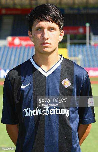 Dominik Mader is seen during the TuS Koblenz team presentation at the Oberwerth Stadium on August 6 2008 in Koblenz Germany