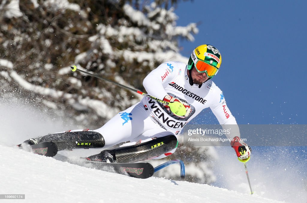 Dominik Paris of Italy competes during the Audi FIS Alpine Ski World Cup Men's Super Combined on January 18, 2013 in Wengen, Switzerland.