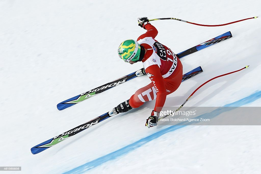 <a gi-track='captionPersonalityLinkClicked' href=/galleries/search?phrase=Dominik+Paris&family=editorial&specificpeople=5663630 ng-click='$event.stopPropagation()'>Dominik Paris</a> of Italy competes during the Audi FIS Alpine Ski World Cup Men's Downhill Training on January 15, 2015 in Wengen, Switzerland.