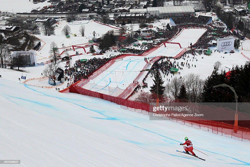 Dominik Paris of Italy competes during the Audi FIS Alpine Ski World Cup Men's SuperG on January 23 2015 in Kitzbuehel Austria