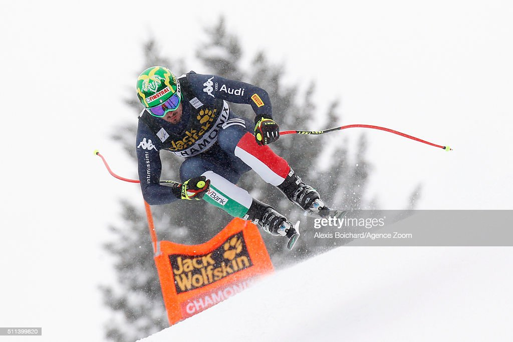 Dominik Paris of Italy competes during the Audi FIS Alpine Ski World Cup Men's Downhill on February 20, 2016 in Chamonix, France.
