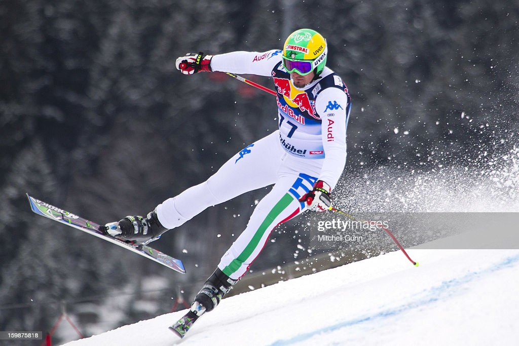 Dominik Paris of Italy races down the Hahnenkamm Race Course during the Audi FIS Alpine Ski World Cup Downhill first official training session on January 22, 2013 in Kitzbuhel, Austria,