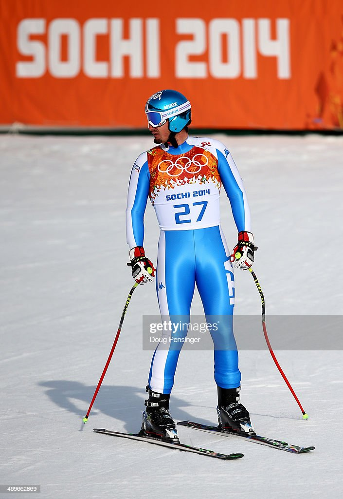 Dominik Paris of Italy reacts after a run during the Alpine Skiing Men's Super-G on day 9 of the Sochi 2014 Winter Olympics at Rosa Khutor Alpine Center on February 16, 2014 in Sochi, Russia.