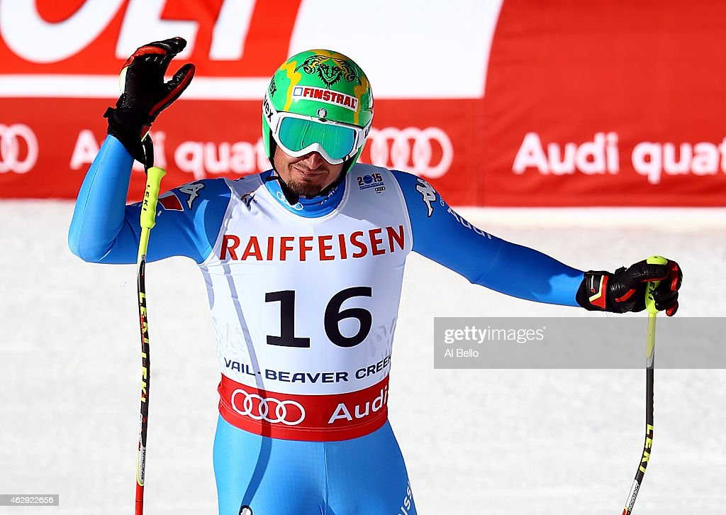 Dominik Paris of Italy reacts after crossing the finish of the Men's Downhill in Red Tail Stadium on Day 6 of the 2015 FIS Alpine World Ski Championships on February 7, 2015 in Beaver Creek, Colorado.