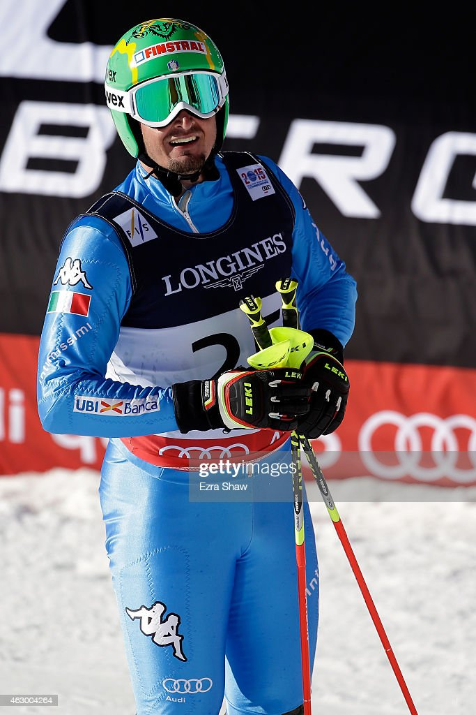 Dominik Paris of Italy reacts after crossing the finish of the Men's Alpine Combined Slalom run in Red Tail Stadium on Day 7 of the 2015 FIS Alpine World Ski Championships on February 8, 2015 in Beaver Creek, Colorado.