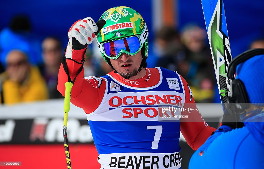 Dominik Paris of Italy reacts as he arrives at the finish of the Audi FIS World Cup Men's Super G Race on the Birds of Prey course on December 6, 2014 in Beaver Creek, Colorado.
