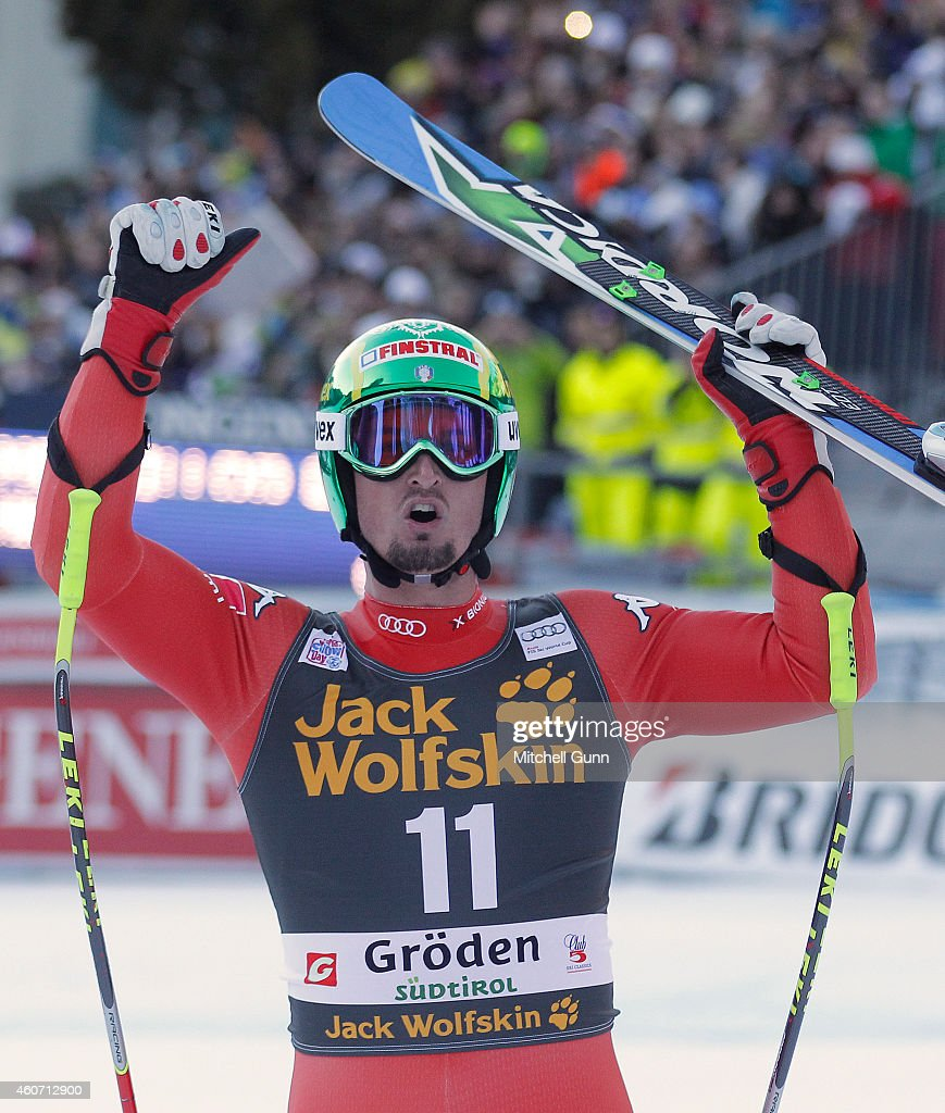 Dominik Paris of Italy reacts in the finish area during the Audi FIS Alpine Ski World Cup Super G race on December 20 2014 in Val Gardena, Italy.