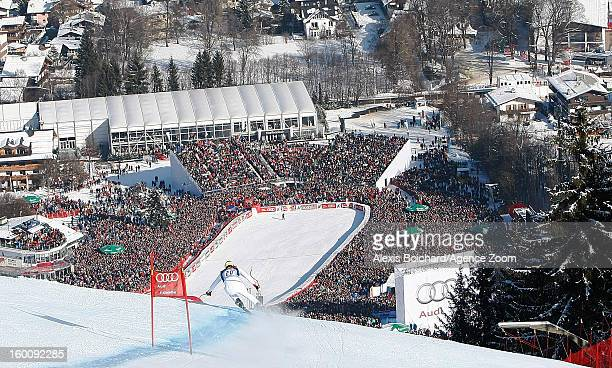 Dominik Paris of Italy takes 1st place during the Audi FIS Alpine Ski World Cup Men's Downhill on January 26 2013 in Kitzbuehel Austria