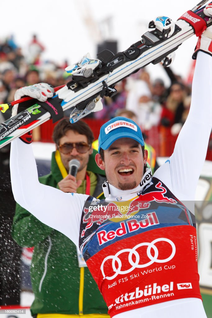 Dominik Paris of Italy takes 1st place during the Audi FIS Alpine Ski World Cup Men's Downhill on January 26, 2013 in Kitzbuehel, Austria.