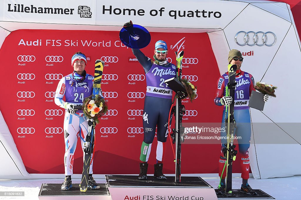 Dominik Paris of Italy takes 1st place, Valentin Giraud Moine of France takes 2nd place, Steven Nyman of the USA takes 3rd place during the Audi FIS Alpine Ski World Cup Men's Downhill on March 12, 2016 in Kvitfjell, Norway.