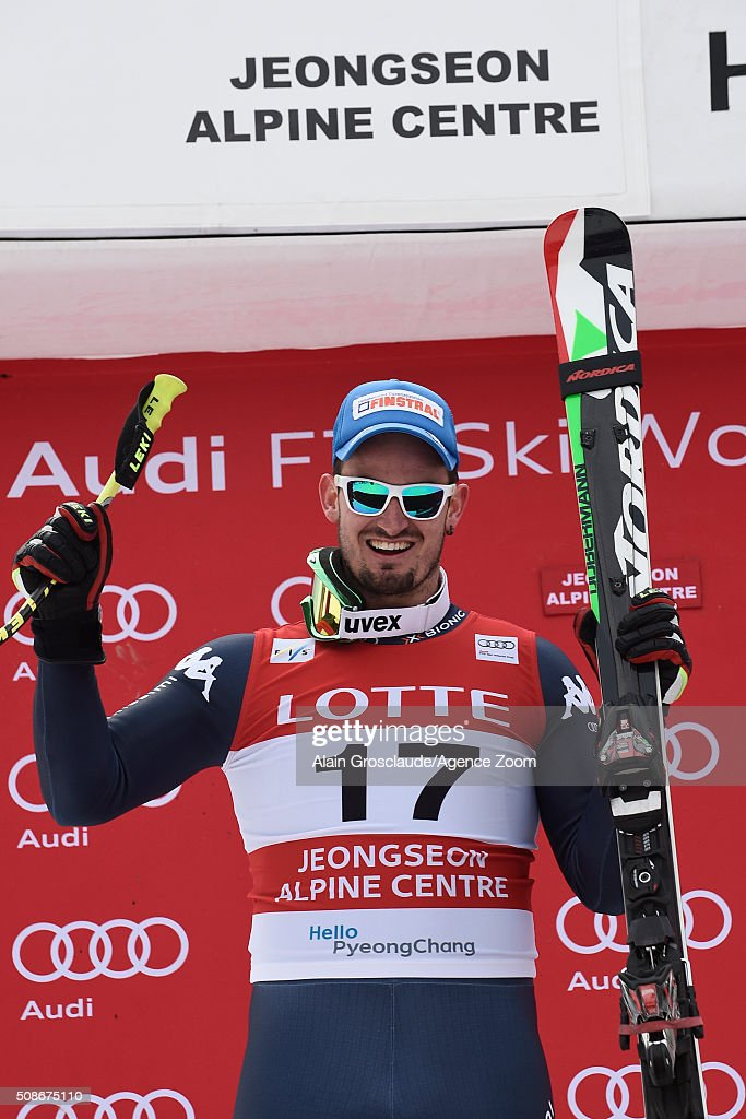Dominik Paris of Italy takes 2nd place during the Audi FIS Alpine Ski World Cup Men's Downhill on February 06, 2016 in Jeongseon, South Korea.