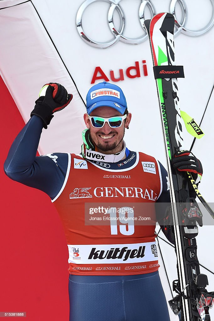 Dominik Paris of Italy takes 3rd place during the Audi FIS Alpine Ski World Cup Men's Super-G on March 13, 2016 in Kvitfjell, Norway.