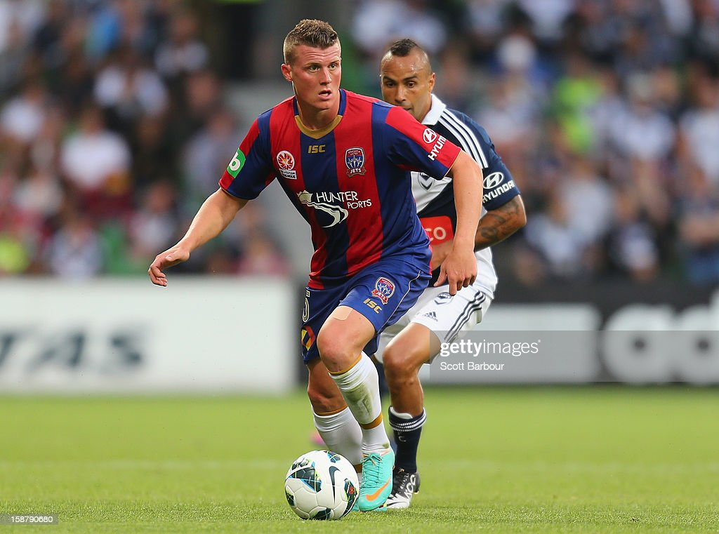 Dominik Ritter of the Jets controls the ball during the round 13 A-League match between the Melbourne Victory and the Newcastle Jets at AAMI Park on December 28, 2012 in Melbourne, Australia.