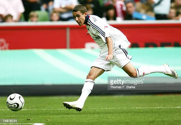 Dominik Rohracker of Munich shoots at goal during the A Juniors Final between Bayer Leverkusen and Bayern Munich at the BayArena on June 24 2007 in...