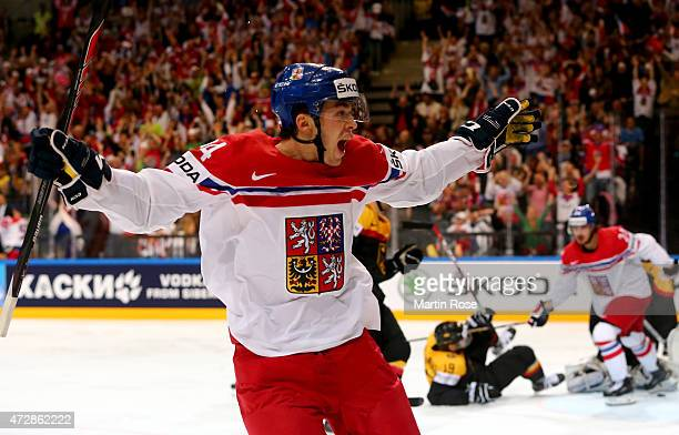 Dominik Simon of Czech celebrate his team's 2nd goal during the IIHF World Championship group A match between Germany and Czech Repubic at o2 Arena...