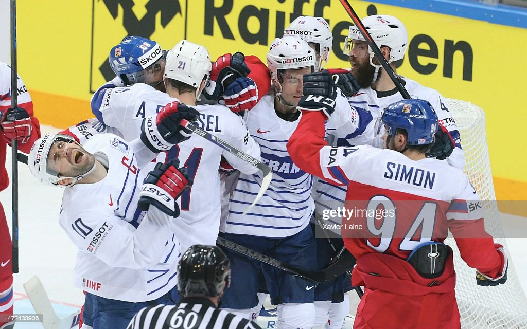 Dominik Simon #94 of Czech Republic fighting Laurent Meunier #10 of France during the 2015 IIHF World Championship between Czech Republic and France at O2 arena on May 7, 2015 in Prague, Czech Republic.