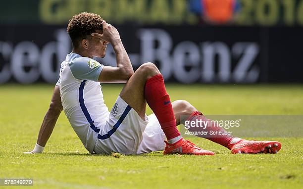 Dominik Solanke of England is disappointed during the U19 Match between England and Italy at CarlBenzStadium on July 21 2016 in Mannheim Germany
