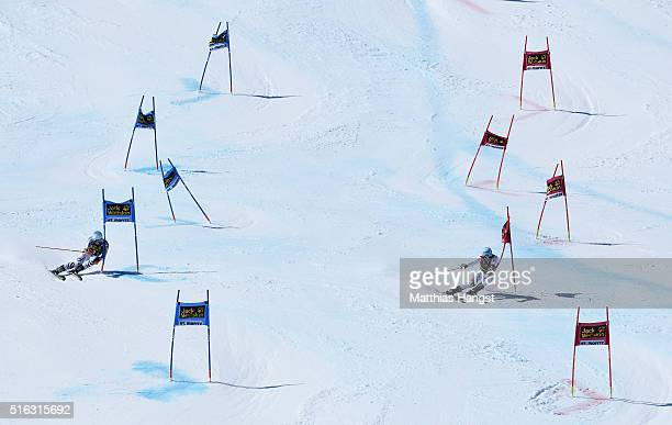 Dominik Stehle of Germany competes against Reto Schmidinger of Switzerland in the Final run during the Audi FIS Alpine Ski World Cup Finals Men's and...