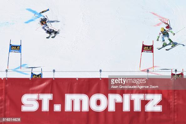 Dominik Stehle of Germany competes against Stefan Hadalin of Slovenia during the Audi FIS Alpine Ski World Cup Finals Men's and Women's Team Event on...