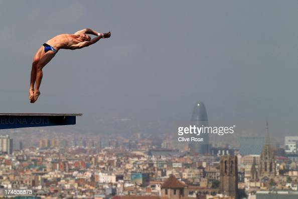 Dominik Stein of Germany competes in the Men's 10m Platform Diving Semifinal round on day eight of the 15th FINA World Championships at Piscina...