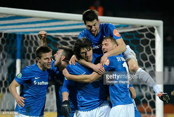 Dominik StrohEngel of Darmstadt celebrates after scoring his teams opening goal during the third league match between SV Darmstadt 98 and MSV...