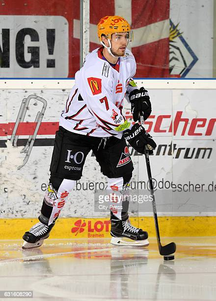 Dominik Tiffels of the Fischtown Pinguins handles the puck during the action shot on September 3 2016 in Bremerhaven Germany