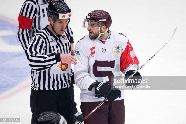 Dominik Uher reacts to the referee during the Champions Hockey League Final between Frolunda Gothenburg and Sparta Prague at Frolundaborgs Isstadion...