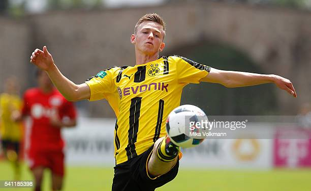 Dominik Wanner of Dortmund controls the ball during the U17 German Championship Final match between Borussia Dortmund U17 and Bayer Leverkusen U17 on...