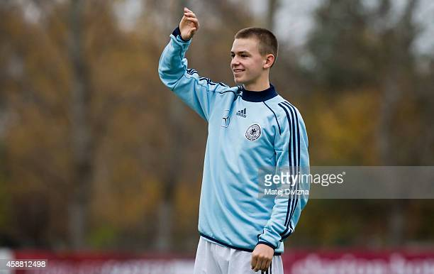 Dominik Wanner of Germany warms up before the international friendly match between U16 Czech Republic and U16 Germany on November 11 2014 in Prague...