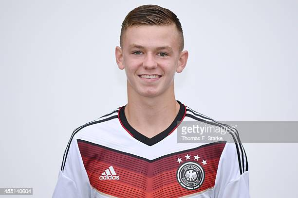 Dominik Wanner poses during the team presentation of U16 Germany on September 10 2014 in Barnstorf Germany