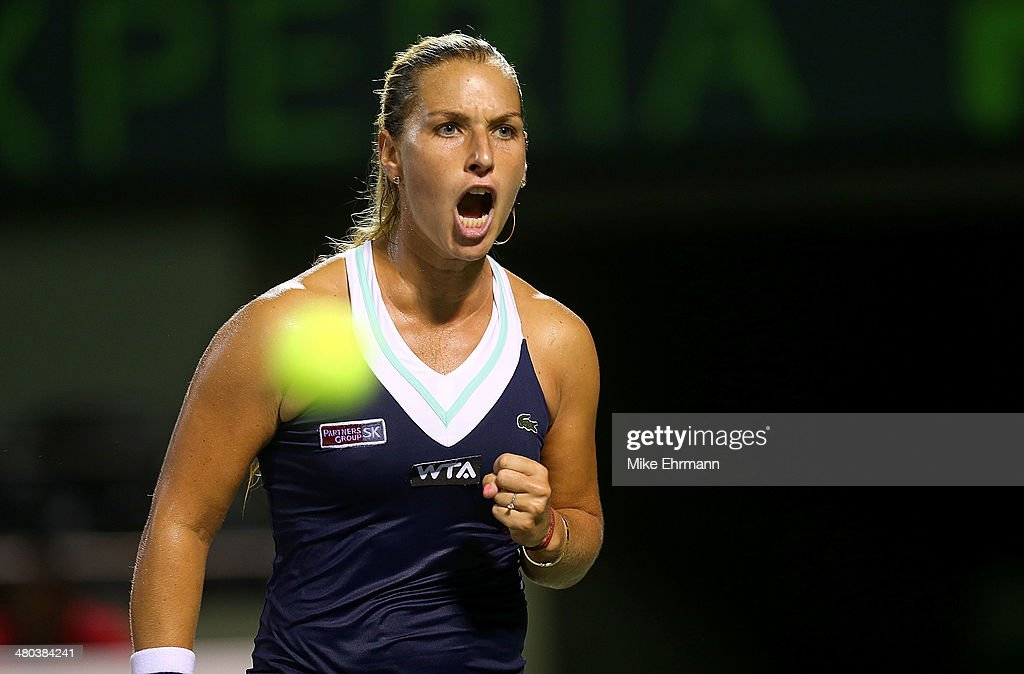 Dominika Ciblukova of Slovakia reacts to a point against Venus Williams during their match on March 24, 2014 in Key Biscayne, Florida.