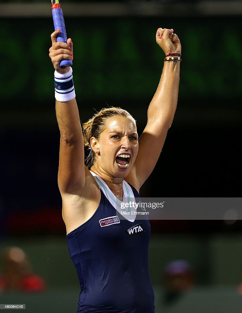 Dominika Ciblukova of Slovakia reacts to winning her match against Venus Williams on March 24, 2014 in Key Biscayne, Florida.
